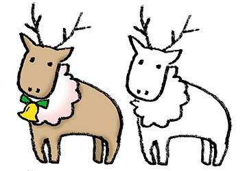 フリー素材・トナカイ・かわいい・クリスマス