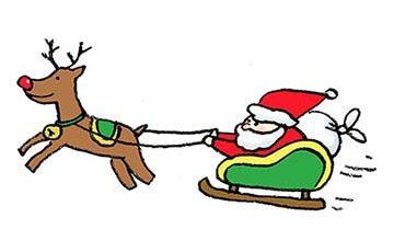 フリーイラスト・サンタさん・そり・トナカイ・手書き・かわいい・クリスマス