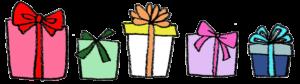 フリーイラスト・たくさんのプレゼント・ギフト・ラッピング・リボン