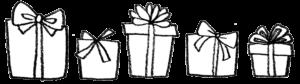 フリーイラスト・たくさんのプレゼント・箱・モノクロ