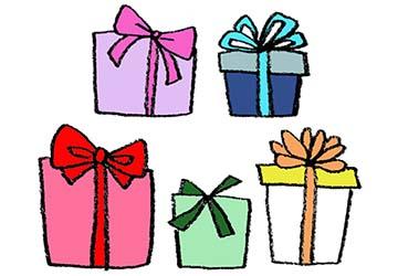 プレゼント・贈り物・ギフトボックスの手書きイラスト