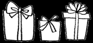 無料素材・プレゼント・ギフトボックス・リボン・モノクロ