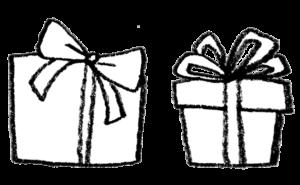 無料イラスト・プレゼント・贈り物・モノクロ・手書き・かわいい