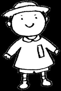 フリーイラスト・男の子・子ども・園児・モノクロ