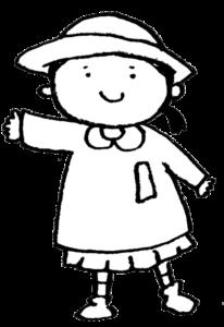 フリー素材・女の子・子ども・園児・モノクロ