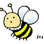 無料イラスト・かわいいミツバチ・飛ぶ・素材