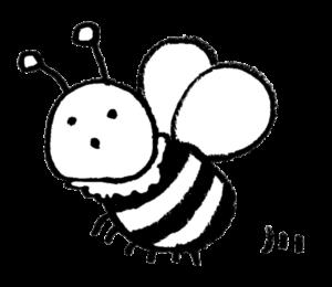 フリーイラスト・かわいいミツバチ・モノクロ