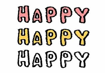 フリー素材・HAPPY・文字・かわいい