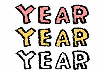 フリー素材・YEAR・年・文字・かわいいイラスト