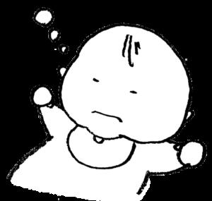 無料イラスト・赤ちゃん・寝る・ベビー・モノクロ