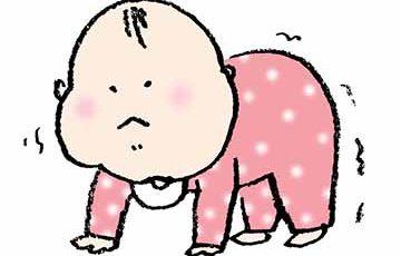 フリーイラスト・赤ちゃん・四つん這い・かわいい手書き・ベビー・ハイハイ