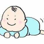 無料イラスト・赤ちゃん・腹ばい・かわいい手書き・ニヤリ