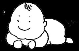 無料イラスト・赤ちゃん・腹ばい・かわいい手書き・ニヤリ・モノクロ