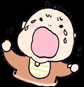 無料イラスト・赤ちゃん・かわいい手書き・泣く・ギャン泣き・モノクロ
