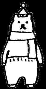 フリーイラスト・シロクマ・白熊・冬・温かい・モノクロ