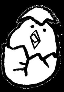 無料イラスト・ひよこ・卵・生まれたて・かわいい手書き・モノクロ