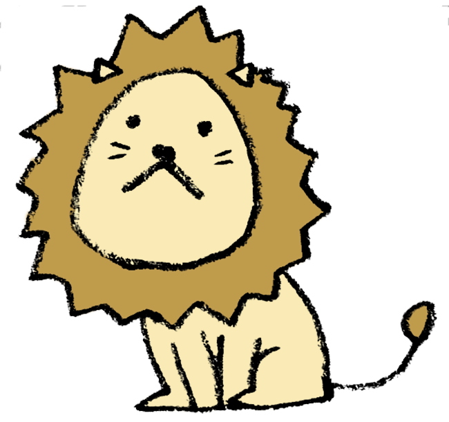 お座りをしたライオンのイラスト えんぴつと画用紙