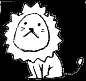 無料イラスト・ライオン・Lion・モノクロ