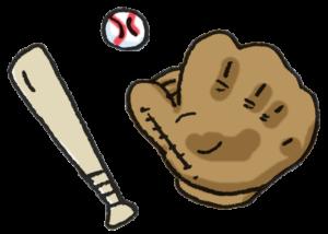 フリーイラスト・野球道具・バット・ボール・グローブ