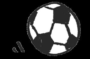 フリーイラスト・サッカーボール・モノクロ