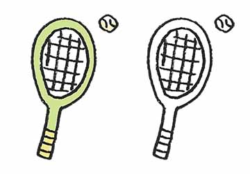 フリーイラスト・テニスグッズ・ラケット・ボール