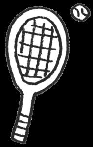 フリーイラスト・テニスグッズ・ラケット・ボール・モノクロ