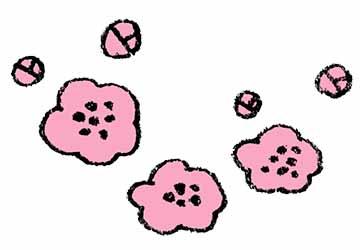 かわいい梅の花の手書きイラスト えんぴつと画用紙