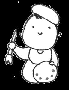 絵描きの赤ちゃん・画家・フリーイラスト・モノクロ