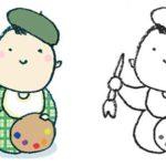 絵描きの赤ちゃん・画家・フリーイラスト