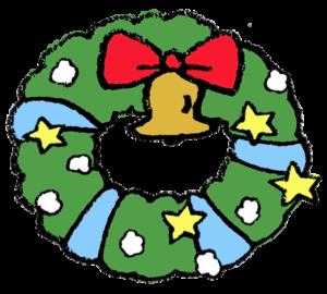 手書きフリーイラスト・クリスマス・リース・かわいい