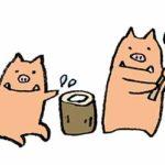 無料イラスト・イノシシ・餅つき・亥・年賀状