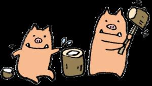 フリーイラスト・かわいいイノシシ・餅つき・亥