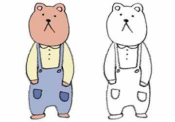 無料素材・クマの男の子・立つ・くま・熊
