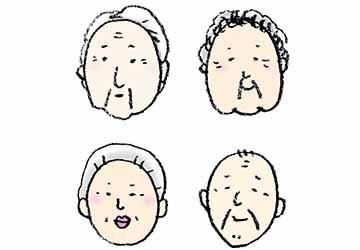 おじいさん おばあさんのイラスト 顔のみ えんぴつと画用紙