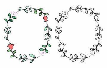 フリーイラスト・枠素材・手書き・かわいい・植物・花・丸いフレーム