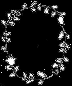 フリーイラスト・枠素材・モノクロ・手書き・かわいい・植物・花・丸いフレーム