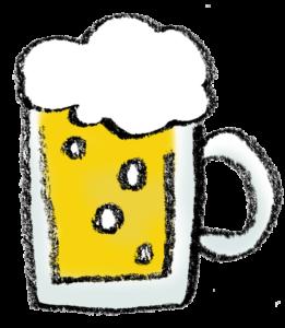 フリーイラスト・ビールジョッキ・生ビール・ビアガーデン・BEER