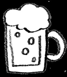 フリーイラスト・ビールジョッキ・生ビール・ビアガーデン・BEER・モノクロ