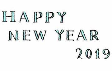 フリー素材・無料・happy new year2019・手書き文字・英語・かわいい・おしゃれ