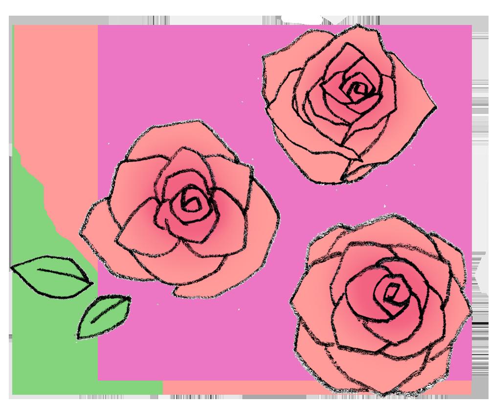 バラの手書きイラスト えんぴつと画用紙