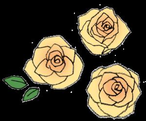 バラの花・黄色い薔薇・手書き・かわいい・フリーイラスト