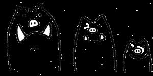 かわいいイノシシ・親子・亥・フリーイラスト・無料・モノクロ白黒