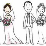 ウェディングドレス・結婚式・花嫁・花婿・かわいいイラスト・フリー・無料・ウェルカムボード・結婚報告
