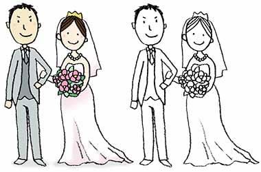 結婚式花婿と花嫁のかわいい手書きイラスト えんぴつと画用紙