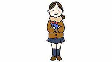 バレンタイン・チョコを渡す女の子・女子高校生・学生・かわいいイラスト・フリー・無料・