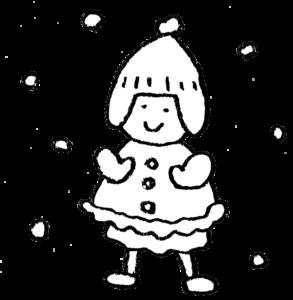 雪遊び・子ども・かわいい手書きモノクロイラスト・雪んこ・冬・寒い