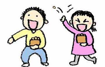 鬼の豆まき・子ども・節分・手書き・フリーイラスト・無料