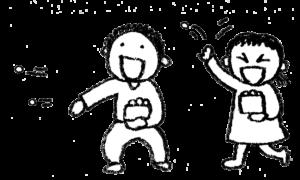 鬼の豆まき・子ども・節分・手書き・フリーイラスト・無料モノクロ