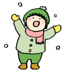 雪遊び・子ども・かわいい手書きイラスト・雪んこ・冬・寒い