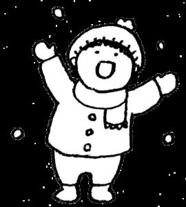 雪遊び・子ども・かわいい手書きイラスト・雪んこ・モノクロ・冬・寒い